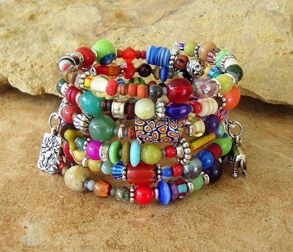 Bracciale boho, colorato moda bohemien, stratificato Indie, Boho Chic, bracciale, braccialetto perline Boemia