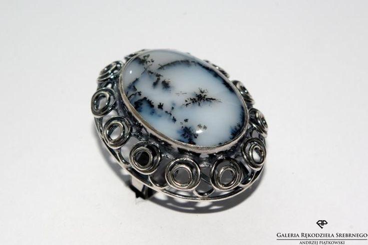 Dla wszystkich Pań lubiących duże pierścionki - Pierścionek srebrny z Agatem Dendrytowym - dostępny w naszym sklepie https://www.rekodzielosrebrne.pl