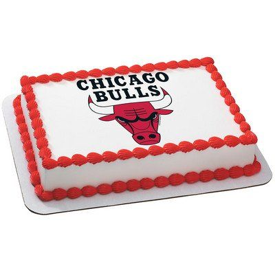 Chicago Bulls NBA Edible Cake Topper | My Party Helpers | http://mypartyhelpers.com/products/chicago-bulls-nba-edible-cake-topper