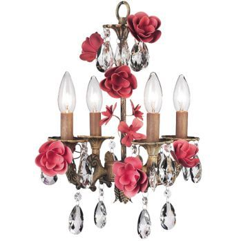 4 Arm Gray Silver Pink Roses Chandelier