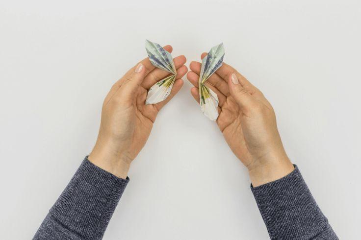 Geldscheine falten - Falttechnik Schmetterling - Schritt 10