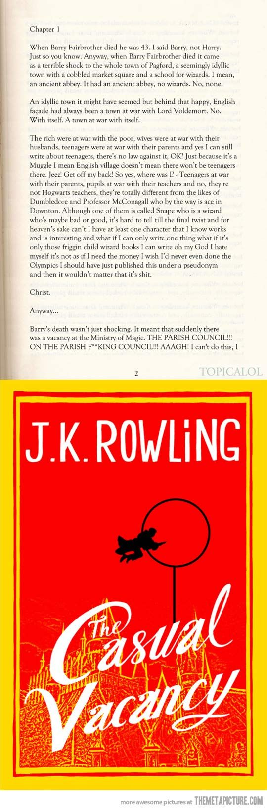 "JK Rowling's new Adult Novel ""The Casual Vacancy"". First page."
