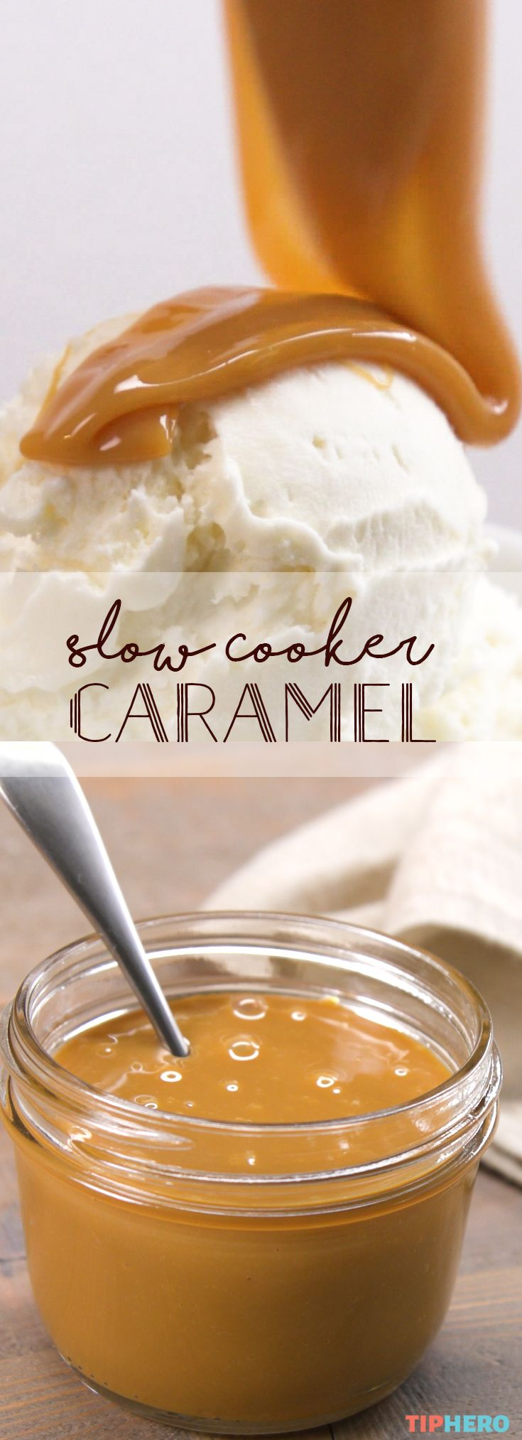 Caramel you can make at home, in your slow cooker? Yes, please! All it takes is some sweetened condensed milk and a little patience - waiting the 8 hours while your caramel cooks up. So worth it though! Perfect for drizzling on ice cream, waffles, apples or your favorite confection for a little extra creamy sweetness. Click for the video and recipe!