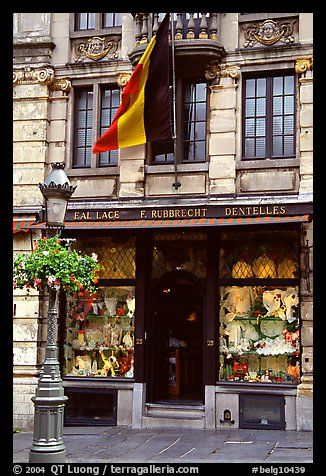 Lace store with Belgian flag, Grand Place. Brussels, Belgium (color)