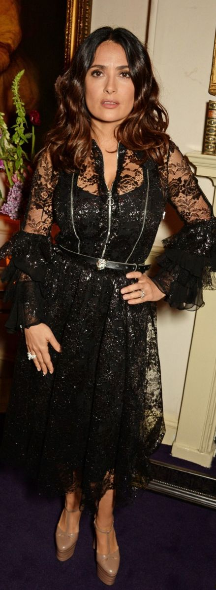 Who made  Salma Hayek's black lace dress and platform nude pumps?