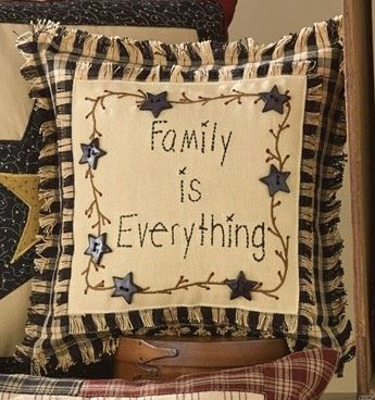 Family is Everything Pillow You could make this! Embroider words and vine on Aida cloth, add buttons, make this the pillow front. Note frayed edges