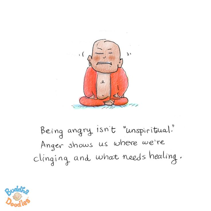 """{Today's Buddha Doodle} Unspiritual? Being angry isn't """"unspiritual."""" Anger shows us where we're clinging and what needs healing."""