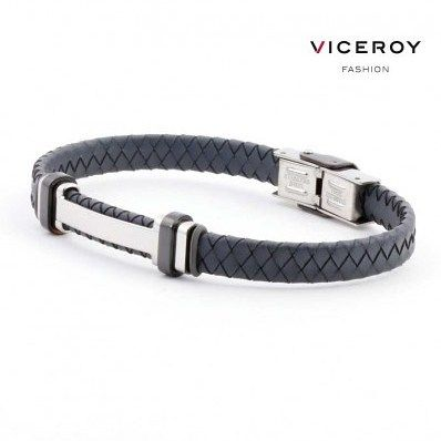 Elegante #pulsera #ViceroyFashion de #acero y #cuero trenzado en color #gris para hombre. En la parte central pieza de #acero brillo con adornos pavonados en negro. http://ift.tt/2gw0UWl