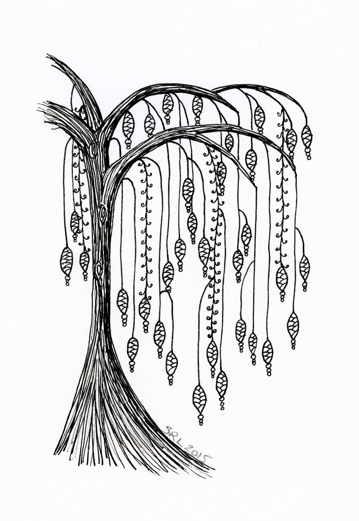 Willow tree with dangles Zentangle by Sandy Rosenvinge Lundbye.