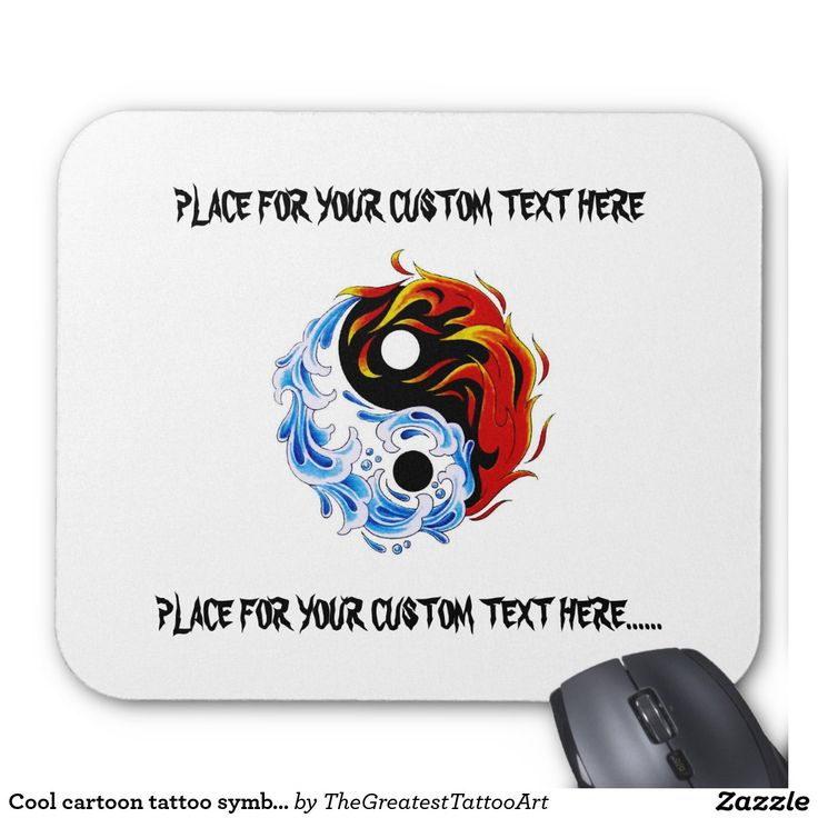 Cool cartoon tattoo symbol water fire Yin Yang Mouse Pad