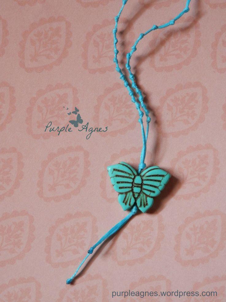 Bohemian Jewelry, Butterfly Pendant, Pastel Blue