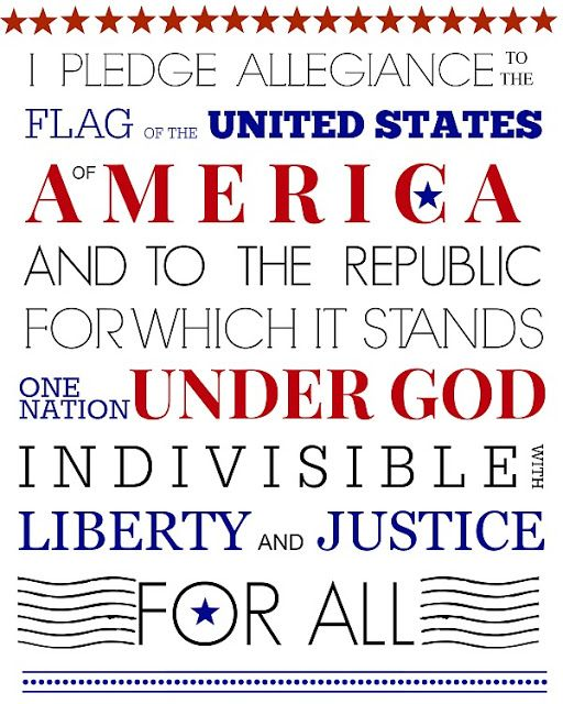 Free patriotic Pledge of Allegiance printable celebrating America's 4th of July Independence Day