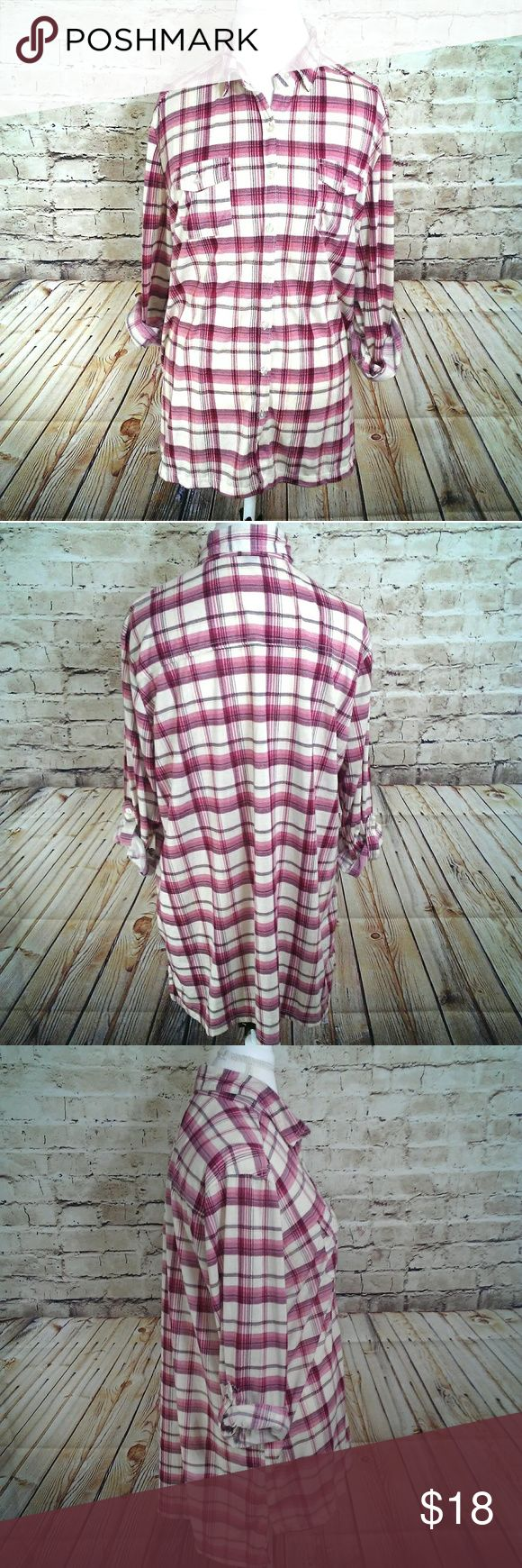 """Plaid Tunic Red/Cream Size 1X Excellent condition 23 1/2"""",Arm pit to arm pit 29"""" Length Front 32""""  Length Back. All measurements are takin lying flat and are approximate. No rips or tears. Colors may vary from screen to screen French Laundry Tops Button Down Shirts"""
