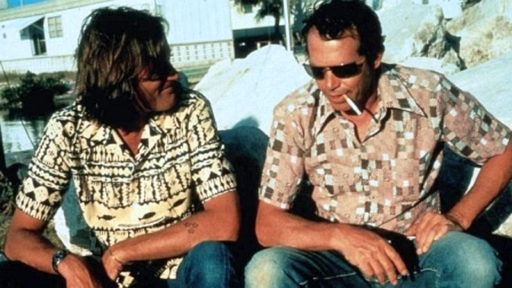 Peter with 3 time movie co-star and friend Warren Oates, filming '92 In The Shade' in Key West Florida