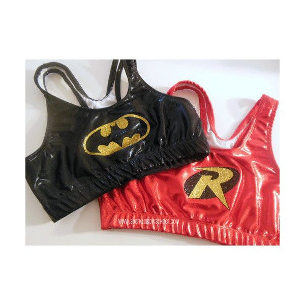 Batman and Robin Metallic Sports Bra Set Cheerleading Yoga Running... ($49) ❤ liked on Polyvore