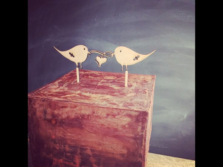 Wooden Love Birds with heart  180x50mm Cake Pick 40mm