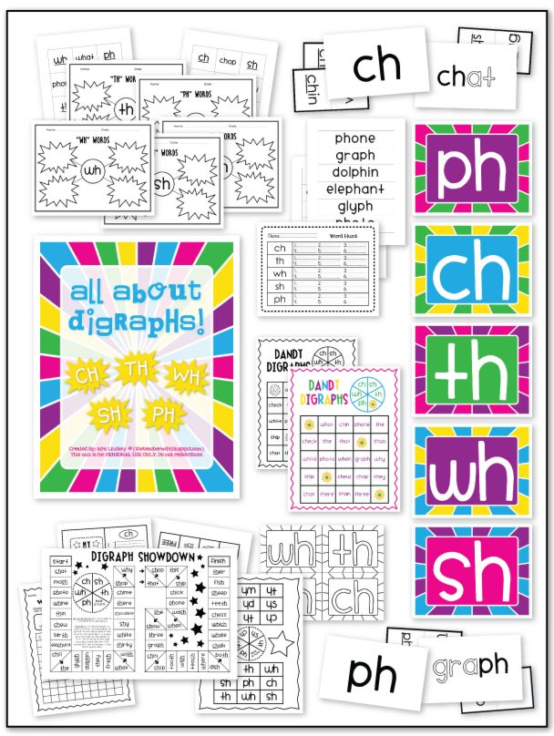 Consonant Digraph Packet (SH, CH, PH, TH, & WH) - 91 Pages full of games, data worksheets, word hunts, digraph posters, flash cards, and practice worksheets!: Digraphs Hunt'S, Teacher Wife, Classroom Door, Consonant Digraphs, Teaching Blog, Teaching English, Digraphs Poster, Diagraph Activities, Digraphs Packets