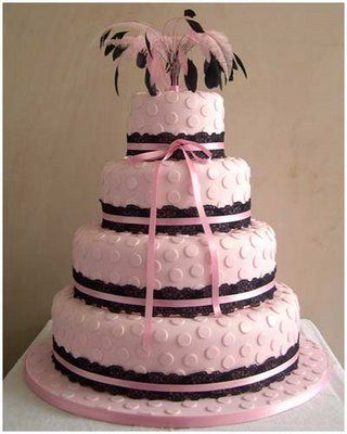 Pink wedding cake by Maisie Fantaisie  http://www.maisiefantaisie.co.uk/pink-polka-dot-wedding-cake.html
