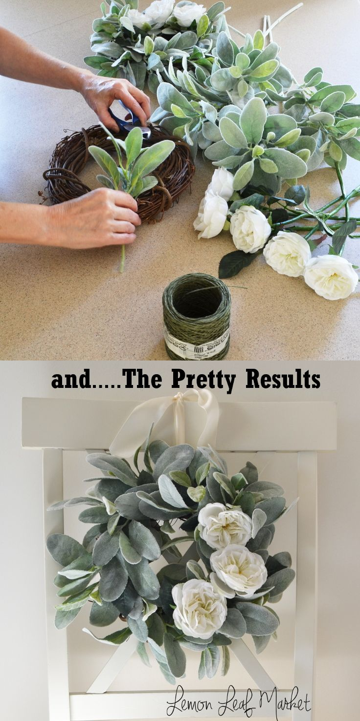 Add a special touch to your room with this farmhouse style lambs ear and garden rose wreath.