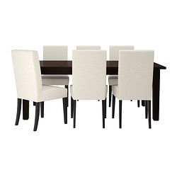 STORNÄS / HENRIKSDAL Table and 6 chairs - Linneryd natural, brown-black - IKEA