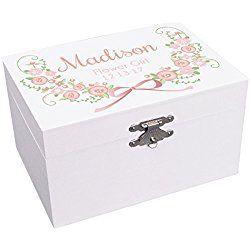Personalized Flower Girl Blush Garland Jewelry Box