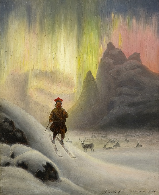 Sami on skis in northern lights, 1885 - Frants Bøe (1820-1891)