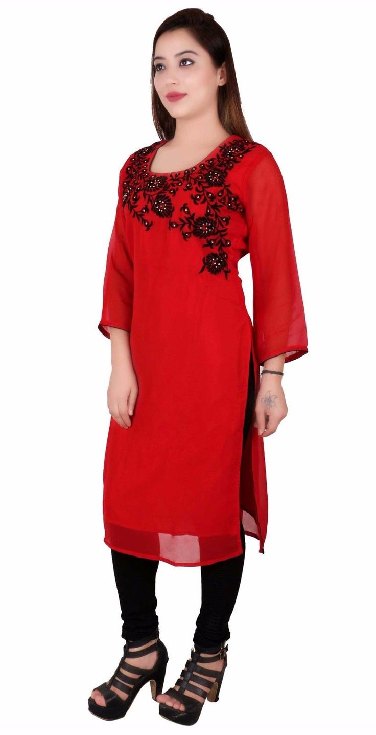 Traditional Indian Kurti Embroidered Tunic Top Ideal Bollywood Theme Outfit 7018