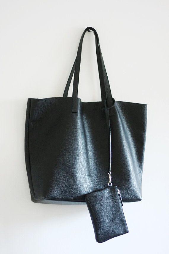 Lila Leather Tote Bag Basic Minimal Per Shoulder Black In 2018 Bags Pinterest
