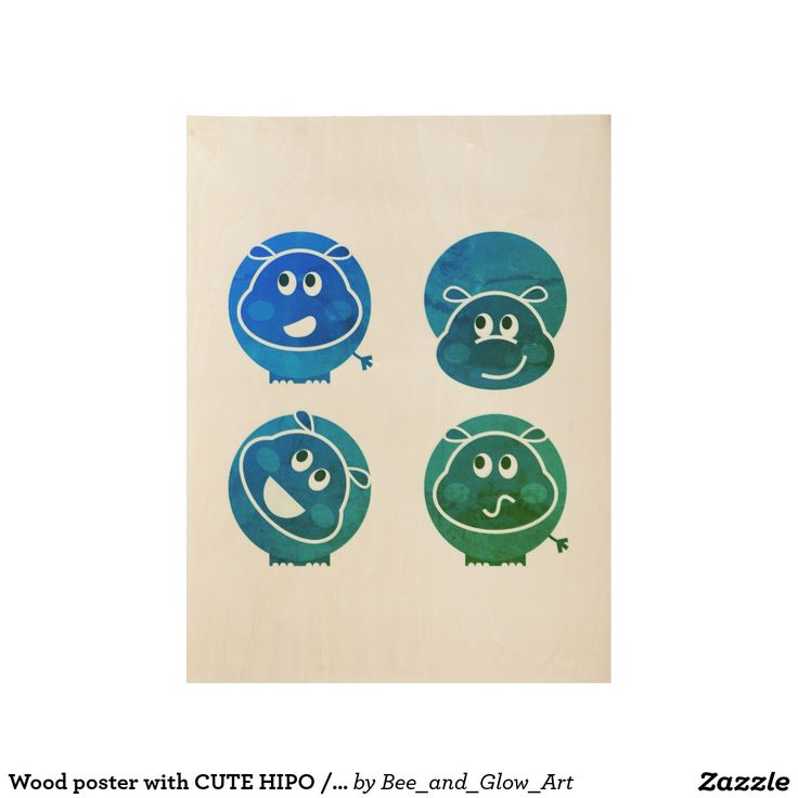 Wood poster with CUTE HIPO / Blue edition