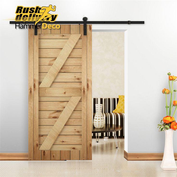5/6/6.6/7.5/8/8.2FT Heavy Duty Rustic Black Steel Sliding barn Wood door hardware country style sliding barn door track kit