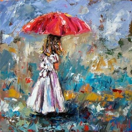 Painting of little girl in the rain with red umbrella for Painting red umbrella