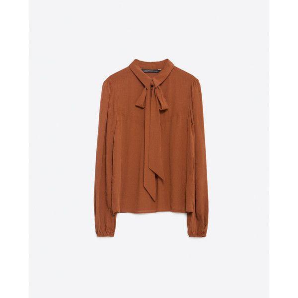 Zara Flowing Blouse ($50) ❤ liked on Polyvore featuring tops, blouses, dark tan, zara top, brown tops, zara blouse, tan top and tan blouse