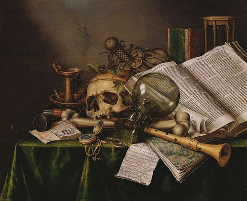 Collier, Edward (1640c.-1710) - 1663 Vanitas - Still Life with Books and Manuscripts and a Skull