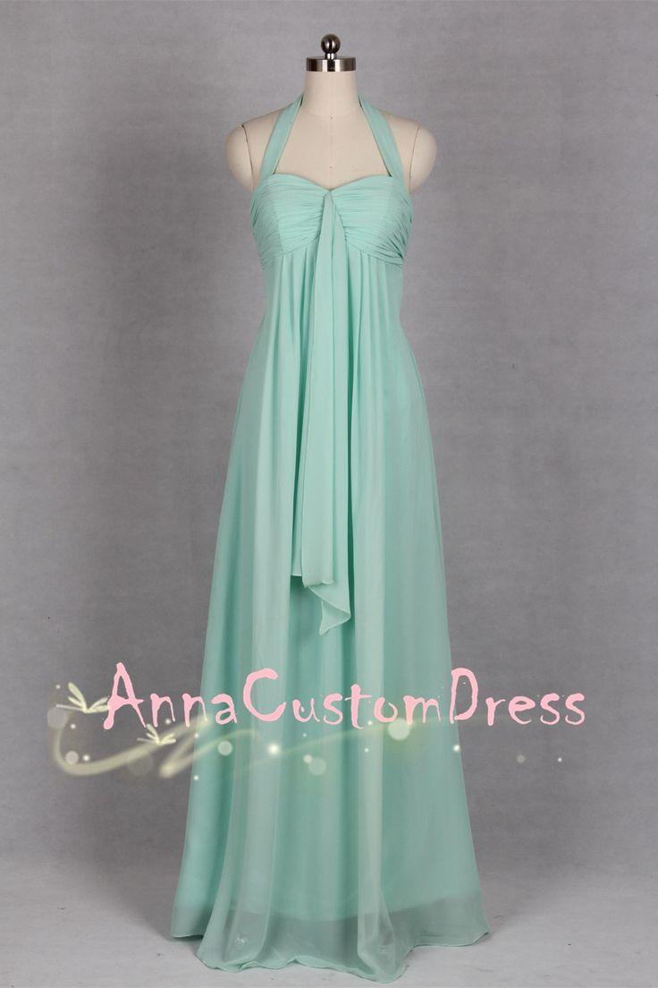 Halter Long Mint Chiffon Bridesmaid Dress