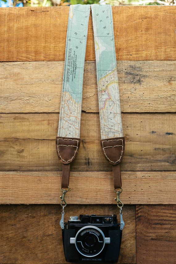 Map Camera Strap for DSLR & Mirrorless Camera - Quick Release - Hand Made Double Sided Linen/Cotton (One of a kind - Hand stitched)