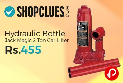 Shopclues is offering 70% off on Hydraulic Bottle Jack Magic 2 Ton Car Lifter Just Rs.455. 2 ton bottle Hydraulic Jack -Change Flat tyre easily, Simply use this Hydraulic Jack to easily Lift your car for changing a flat tyre, No special strength required as it is all Hydraulic, Great for ladies who drive, Perfect for anyone who wants a ease while changing a flat tyre ...  http://www.paisebachaoindia.com/hydraulic-bottle-jack-magic-2-ton-car-liftes/