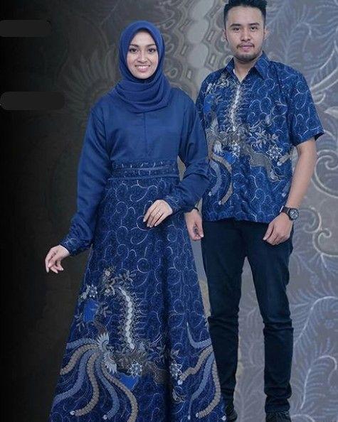 Model Baju Gamis Batik Kombinasi Kain Polos Modern Navy Model Baju