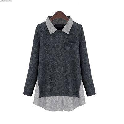 M-3XL XXXL Big Size Women T Shirt Feminina Long Sleeve Patchwork Knitted Loose Casual Shirt Women Camiseta Mujer T63235R