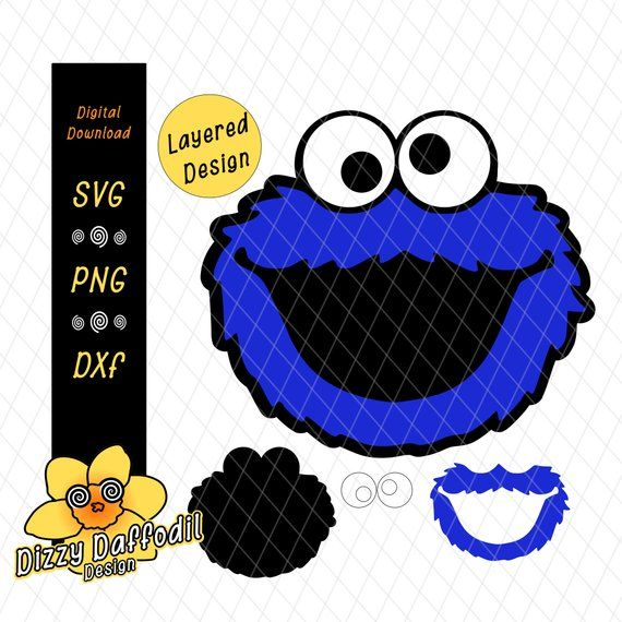 Sesame Street Face Head Bundle Svg Dxf Sesame Street Layered Design Digital Download Elmo Cook Monster Birthday Invitations Monster Birthday Monster Cookies