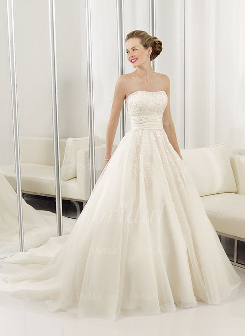 Wedding Dresses - $237.00 - Ball-Gown Strapless Sweetheart Court Train Organza Satin Wedding Dress With Ruffle Lace (00205000948)