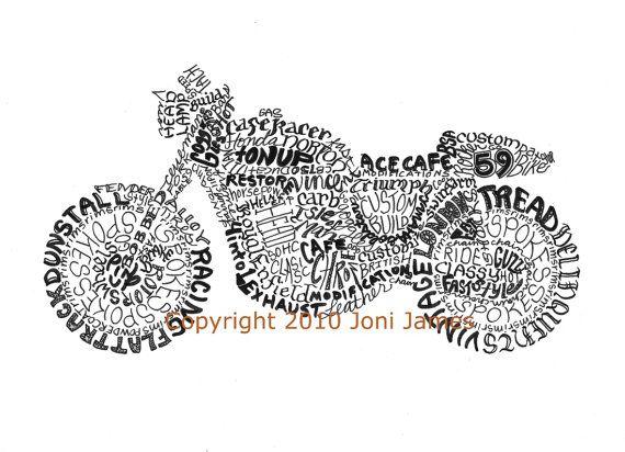 Cafe Racer Art Motorcycle Art Typography Calligram Print, Vintage Motorcycle Drawing, Motorcycle Illustration, 59 Club Retro Art