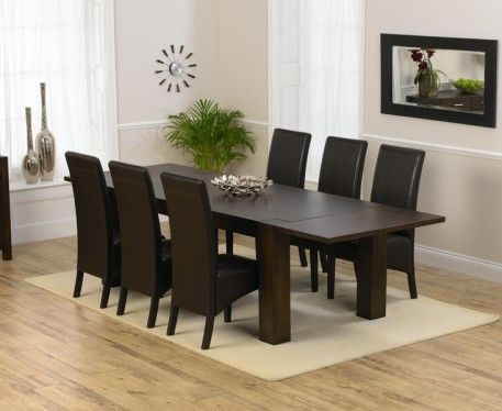 Madrid 200cm Dark Solid Oak Extending Dining Table with Dakota Chairs.
