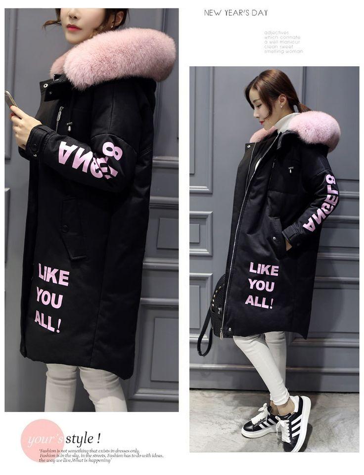 Мисс FoFo 2016 Вниз Длинные Куртки Женщины Пальто Настоящее Большой Меховой капот Письмо Любителей Пуховик Толщиной Верхняя Одежда Мода Черный Свободный Размер купить на AliExpress