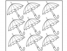 9 Esernyő - Szám gyakorló gyerekeknek