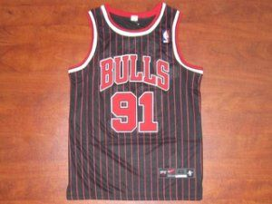 Chicago Bulls NBA Shirt #91 Dennis Rodman Black(Red Stripe) Jersey [F217]