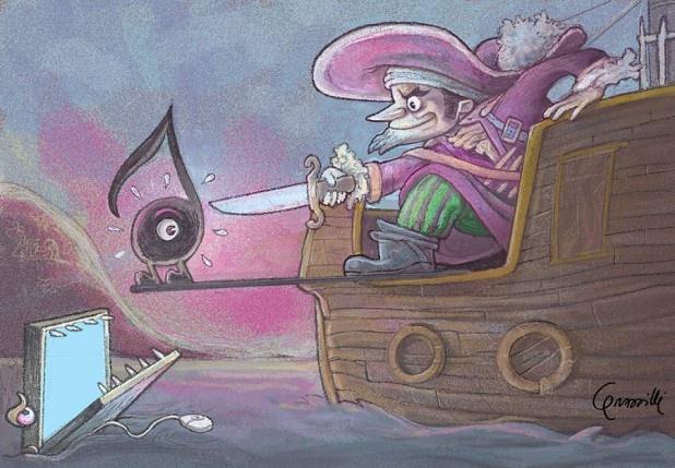 """Illustrazione per notizia su NavigareSicuri: """"Quando sono i pirati a comprare musica""""."""