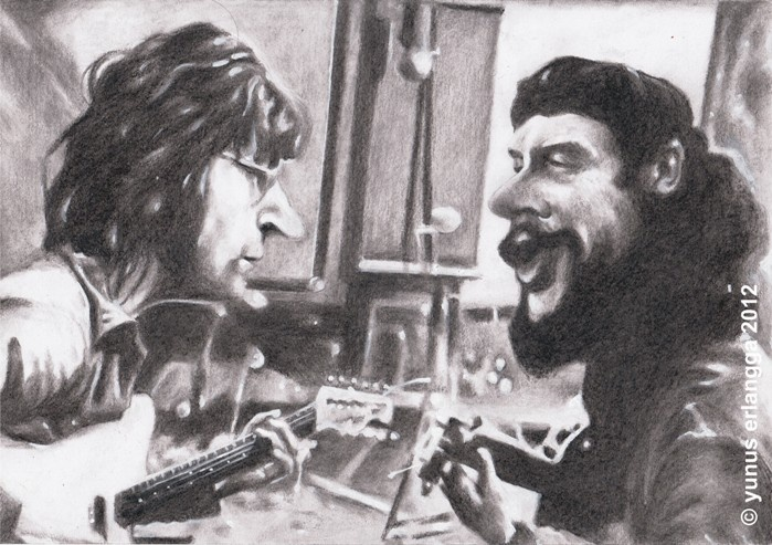 """Che & Lennon Playing Guitar"" by Joen"