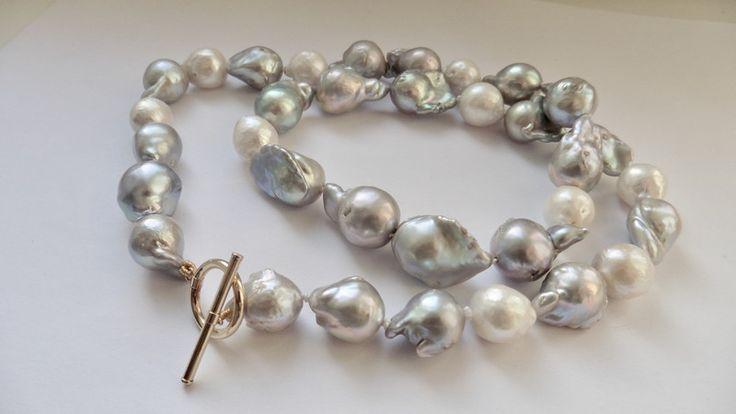 Perlenketten - Perlenkette echte Perlen silber grau Edison-Perlen - ein Designerstück von Perlenfischzuege bei DaWanda
