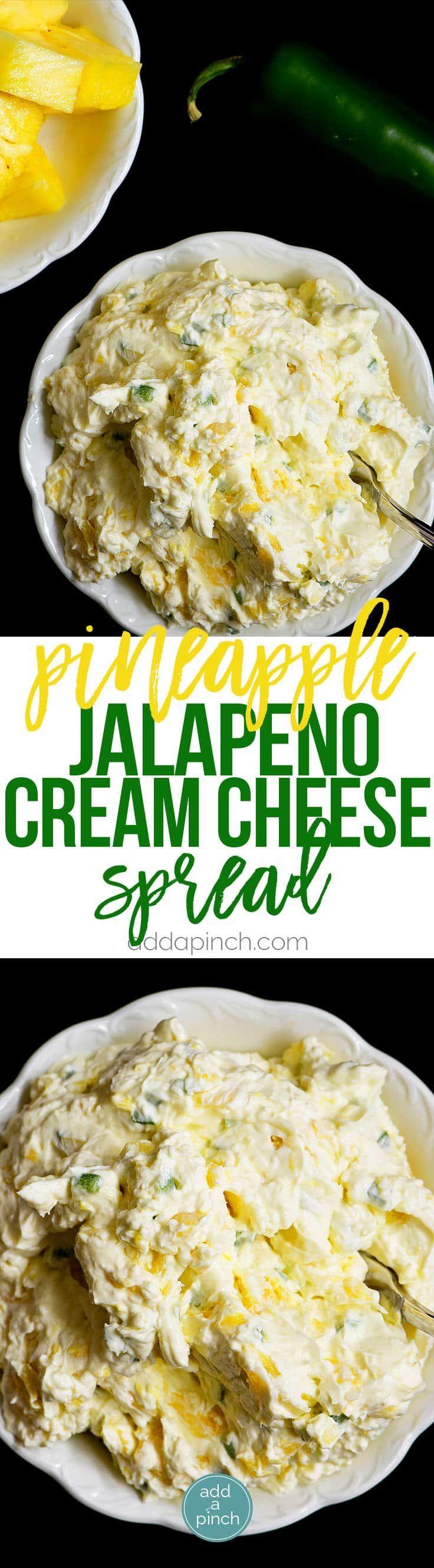 Pineapple Jalapeno Cream Cheese Spread - Deze snelle en eenvoudige recept komt samen in een handomdraai met slechts vier ingrediënten!  Deze zoete en kruidige crème smeerkaas is perfect voor sandwiches, wraps, crackers of bagels!  // addapinch.com