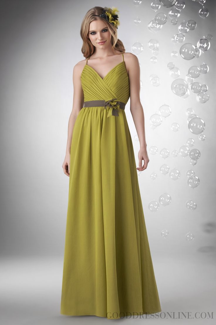 2013 Simple Sheath / Column V-neck Sashes / Ribbons Chiffon Bridesmaid Dresses